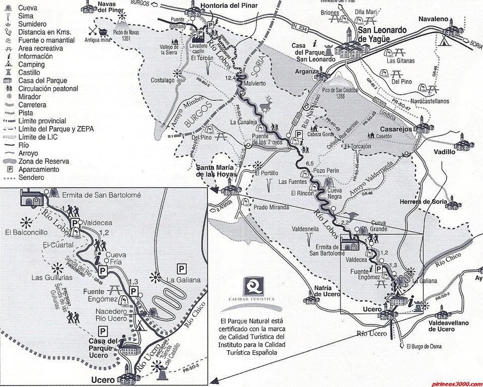 Plano del cañon del Rio Lobos y sus alrededores (Foto tomada de la página web cañondelriolobos.com)